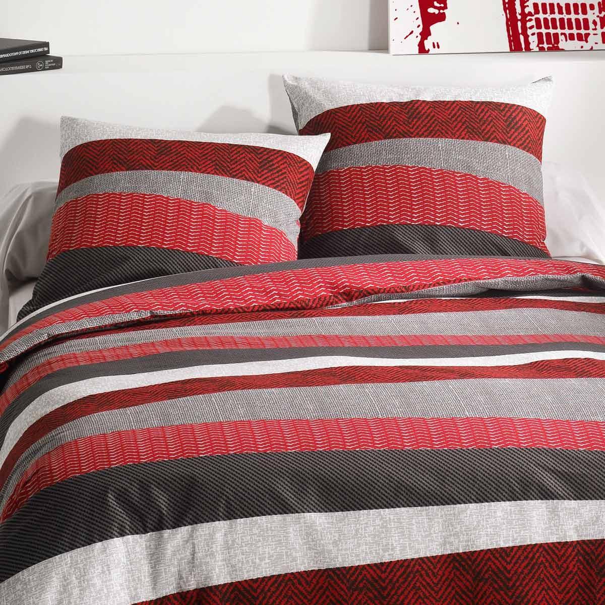 housse de couette taie tribeca rouge c design home ebay. Black Bedroom Furniture Sets. Home Design Ideas