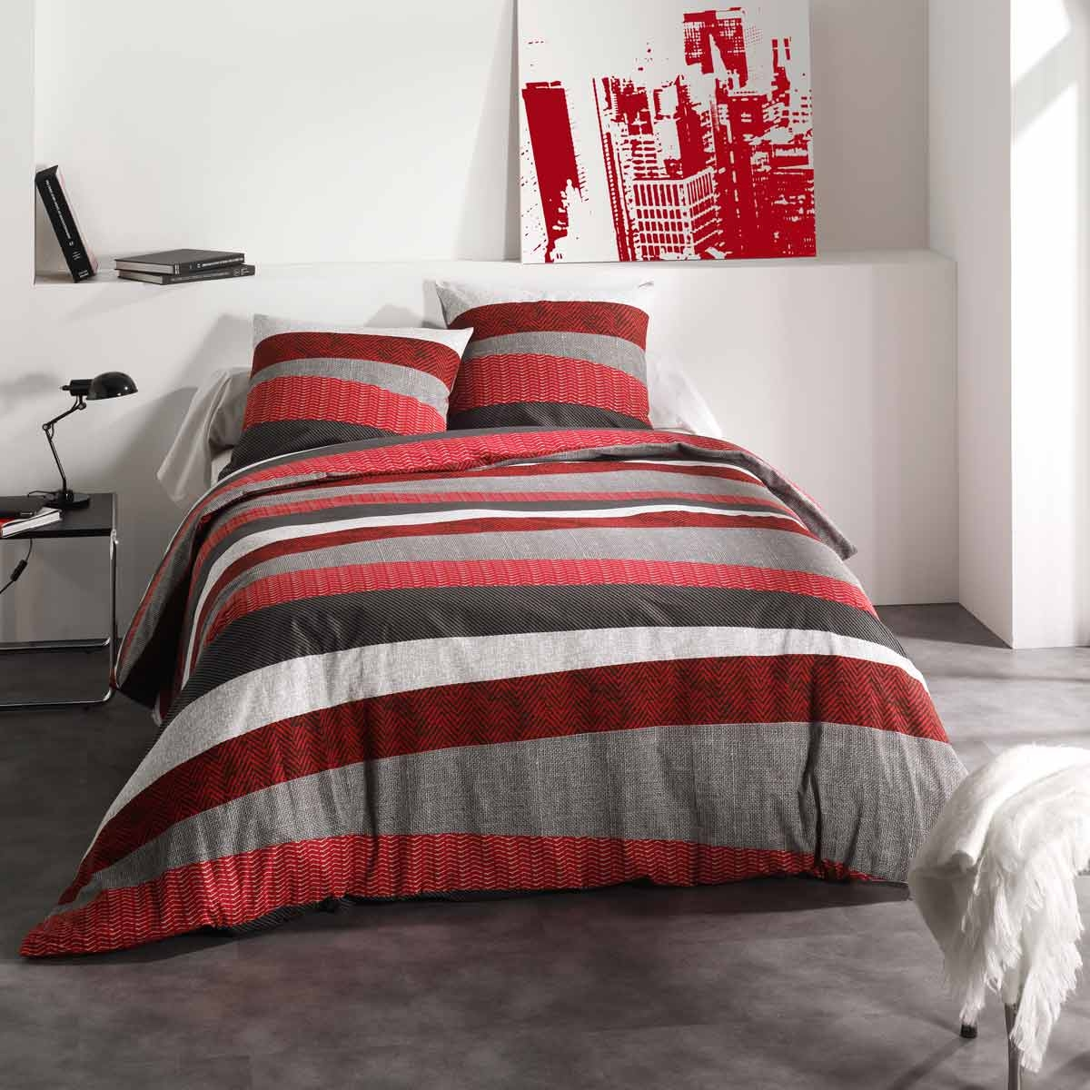 housse de couette taie tribeca rouge c design home ebay. Black Bedroom Furniture Sets. Home Design Ideas