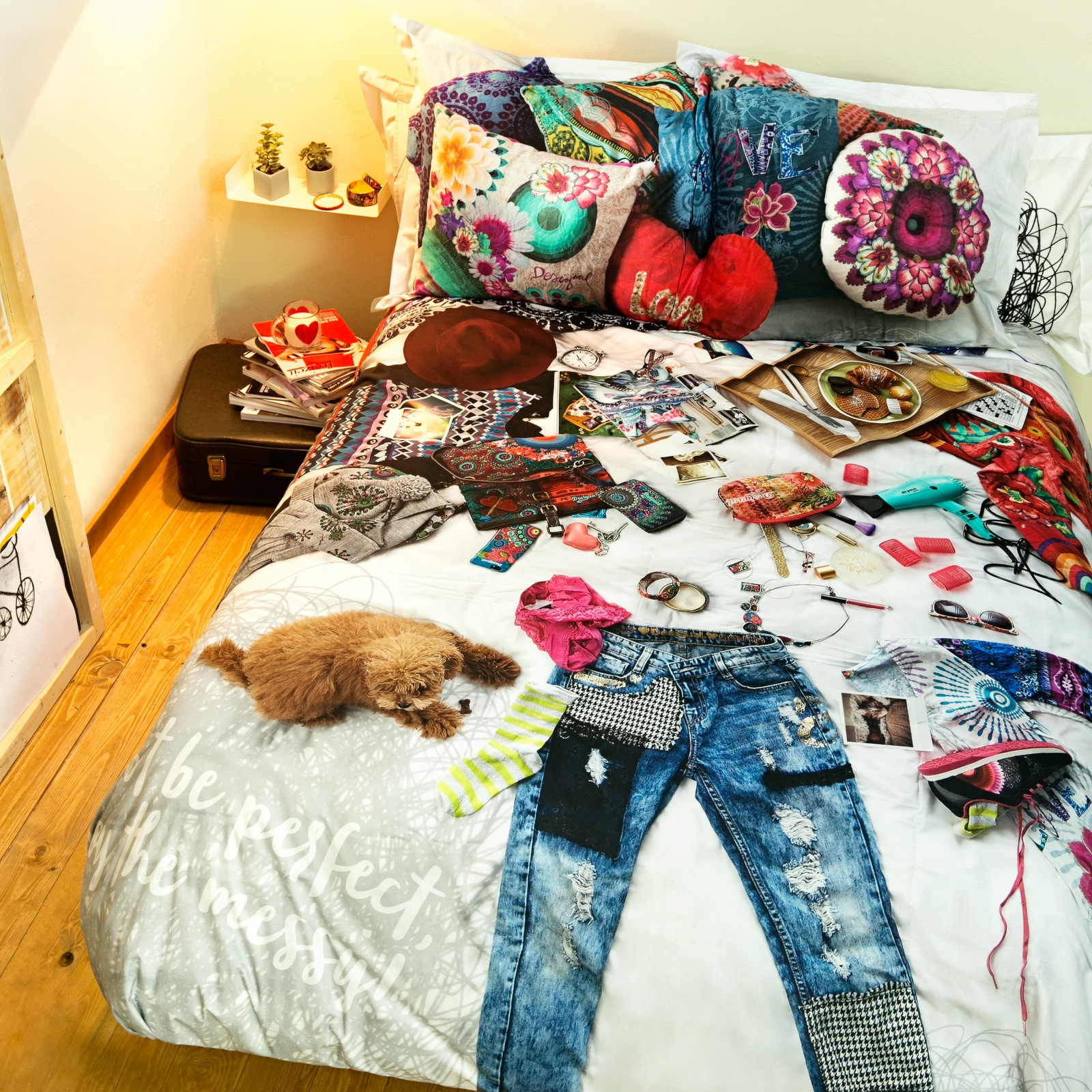 housse de couette messy bed desigual ebay. Black Bedroom Furniture Sets. Home Design Ideas